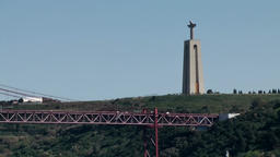 Europe Portugal Lisbon Cristo Rei in Almada and 25th of April Bridge Footage