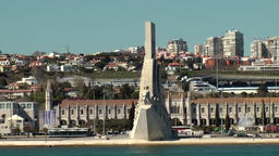 Europe Portugal Lisbon ride on Tejo river and pass Monument to the Discoveries Footage