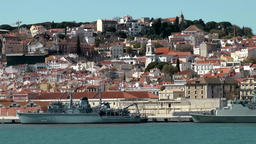Europe Portugal Lisbon war ships and old town scenery from Tejo Image
