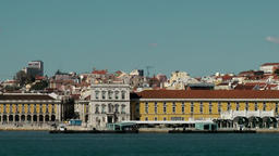 Europe Portugal Lisbon the Comércio Square seen from Tejo river Footage