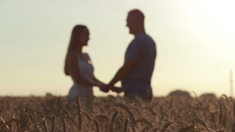 Couple holding hands in wheat field at sunset Footage