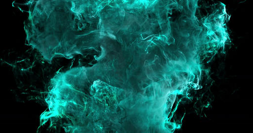 Motion Background VJ Loop - Cyan Particles 4k + Matte Animation
