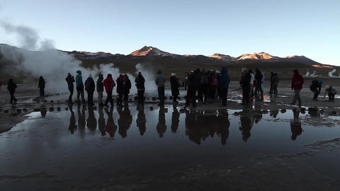 Tourists watching geysers Footage