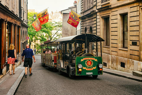 People in excursion tram at Street with Flags at Geneva フォト