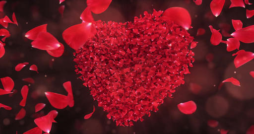 Whirl Rotating Red Rose Flower Petals In Lovely Heart Shape Background Loop 4k Animation