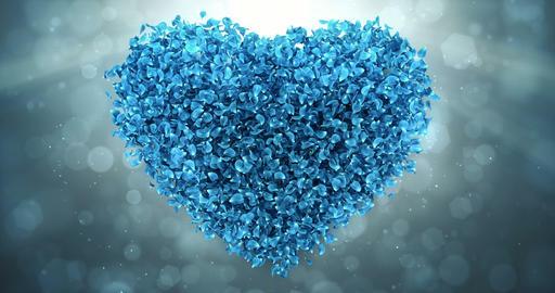 Blue Rose Flower Petals In Lovely Heart Shape Background Loop 4k Animation