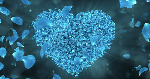 Whirl Rotating Blue Rose Flower Petals In Heart Shape Background Loop 4k Animation