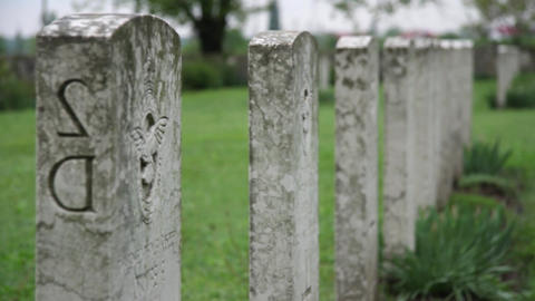 Cross of men, heroes who died in the war. A view of the tombstones in the cemete Footage