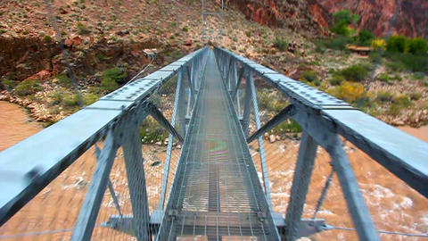 Walking Colorado River Bridge stock footage
