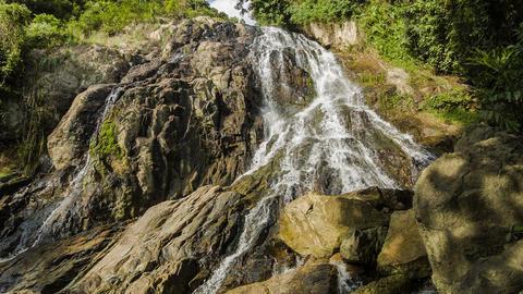 Tropical waterfall in rocks Footage