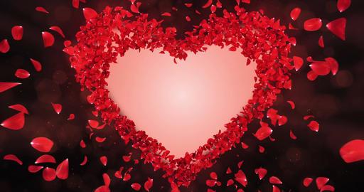 Red Rose Flower Petals In Heart Shape Alpha Matte Loop Placeholder 4k Animation