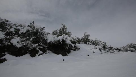 Snowy path on mountain range Footage