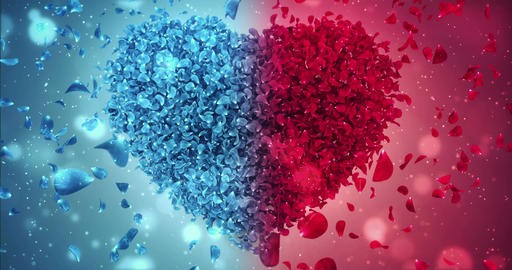 Red and Blue Rose Flower Falling Petals Love Heart Wedding Background Loop 4k Animation