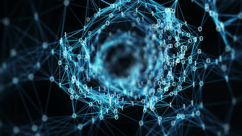 Abstract Motion Background - Flying Digital Binary Tunnel Alpha Matte Loop Animation