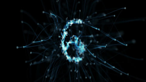 Digital Binary Pipes Plexus Countdown - Rotating Abstract Motion Alpha Matte 4k Animation