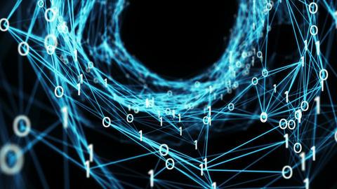 Abstract Motion Background - A Flying Through Digital Binary Plexus Tunnel Animation