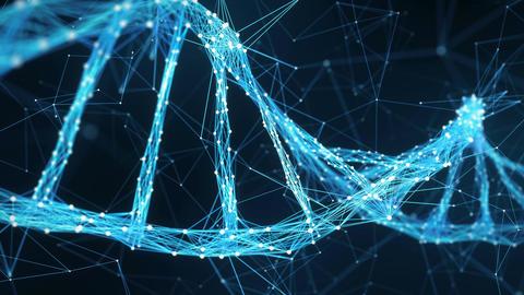 Abstract Motion Background - Digital Plexus DNA molecule 4k Loop Animation