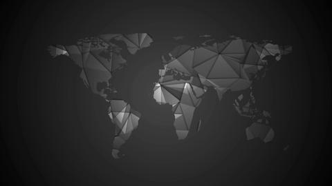 Black tech polygonal world map video animation CG動画素材
