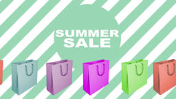 Summer sale sign with animated shopping bags Footage