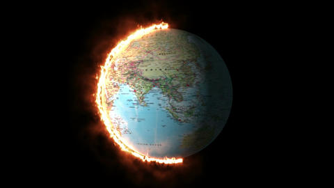 3d rendering of Burning earth Planet - Animation Animation