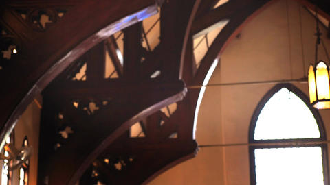 Church interior with Sunlight on wooden bench Footage