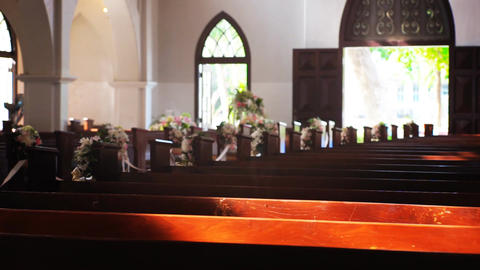Church interior with Sunlight on wooden bench Archivo