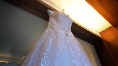 Detail of White Wedding Dress Footage
