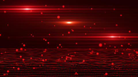 3D Red Bouncing Cyber Particles Virtual Environment Background Animation