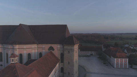 Wiblingen Kloster Abbey With Drone At Sunrise Footage