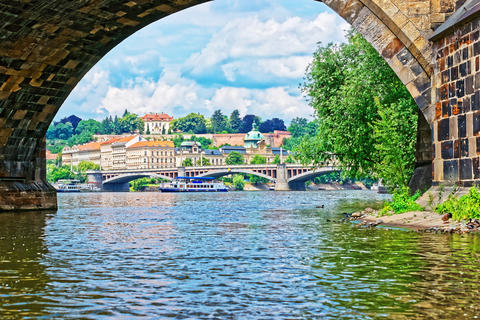Jirasek Bridge over Vltava River and Old Town Prague フォト