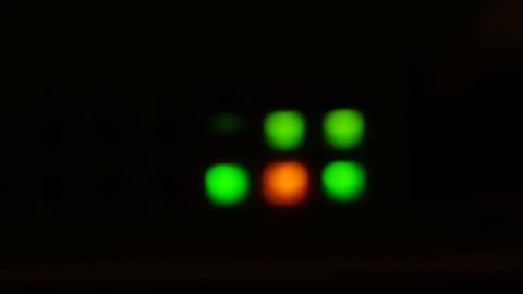 Defocused Lights Of Modern Working Data Servers With Cables And Flashing LED Lig Image