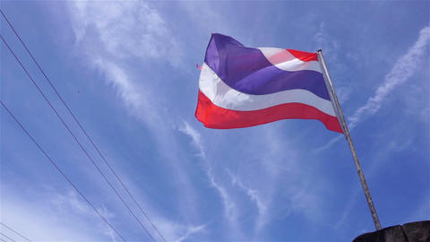 Thai flag at boat on sunny day Filmmaterial