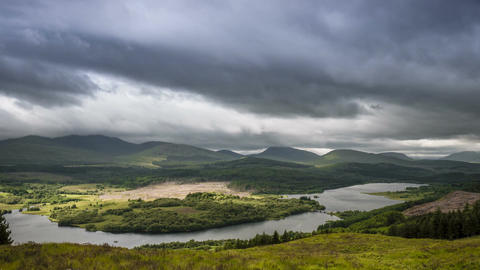 Time Lapse, Dramatic Cloud Cover Over Loch Garry, Scotland Footage