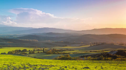 Evening over the Fields and Hills of Tuscany. Time Lapse Footage