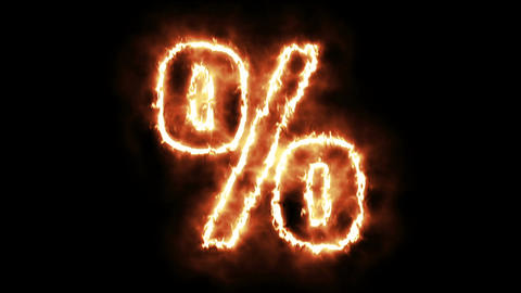 hot burning percentage on black background Animation