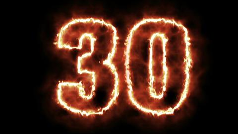 hot burning number on black background Animation