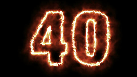 hot burning number on black background Animation