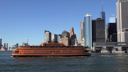 USA New York City Manhattan Staten Island ferry on Hudson River Footage