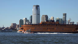 USA New York City Paulus Hook of Jersey City with Staten Island Ferry Footage