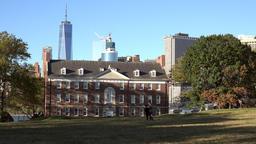 USA New York City Governors Island Manhattan skyline & former military building Footage