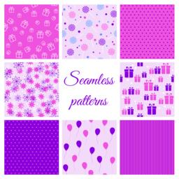 Set of seamless patterns for birthday Vector