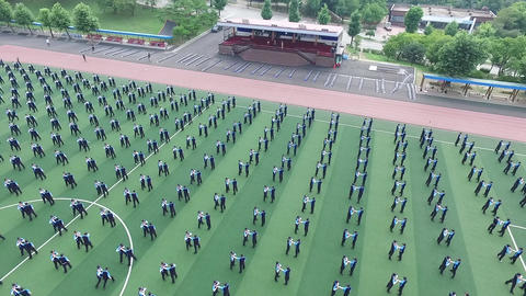 Police arrest drill training aerial photography 画像
