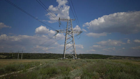 Power pylons. Electrical power lines Footage