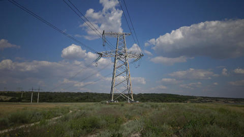 Power pylons. Electrical power lines Stock Video Footage