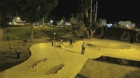 Skate Park At Night Footage
