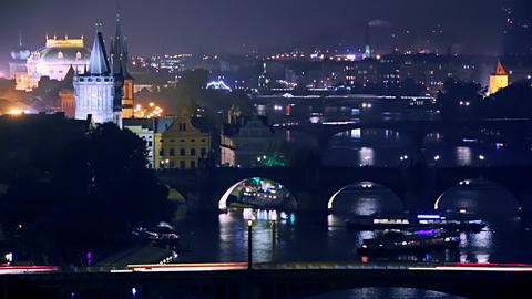 Aerial View of the Bridges of the Night Prague Footage