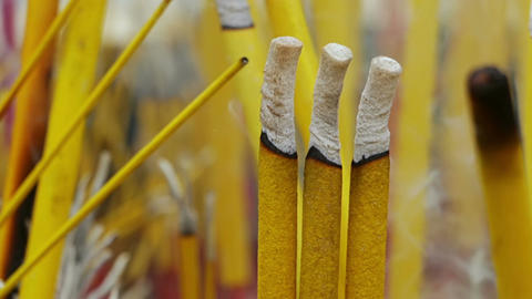 Buddhist Smoky Sticks Close-Up Footage