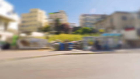 Fast blur moving timelapse of street in Tel Aviv city Filmmaterial
