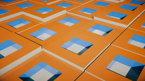 Field of bright orange cubes. Seamless loop Animation