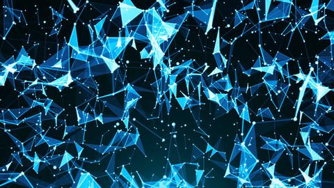 Abstract background with plexus. Technology backdrop. Triangles, lines and dots. Animation